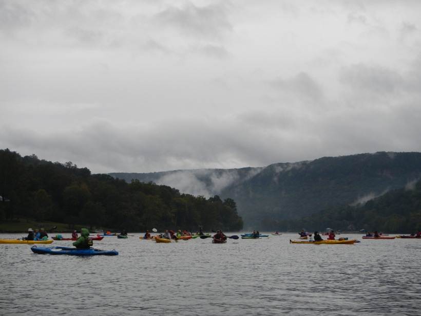 The race start. Swim the Suck, October 2015. Photo by M the kayaker.