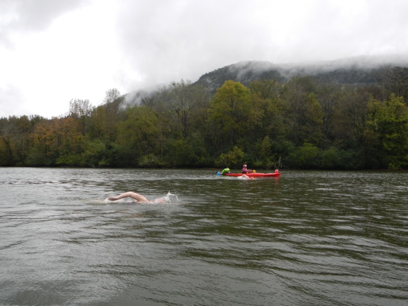 Me in the foreground, beautiful mountains in the back. Swim the Suck, October 2015. Photo by M the kayaker.